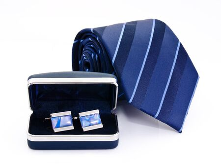 Man cuff links in box and tie  isolated on white Stock Photo - 15303282