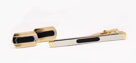 cuff links and tie clip isolated on white background Stock Photo - 15756349