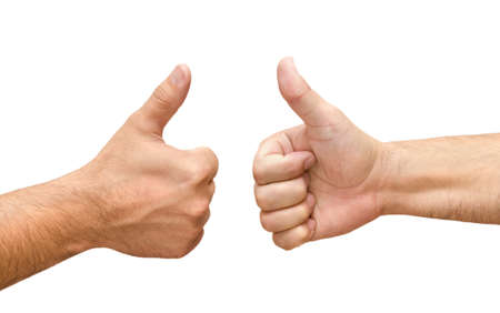 two thumbs up: Two male hands with thumbs up ok isolated on white  Stock Photo