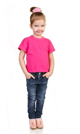 Cute little girl in jeans and t-shirt isolated on white Stock Photo