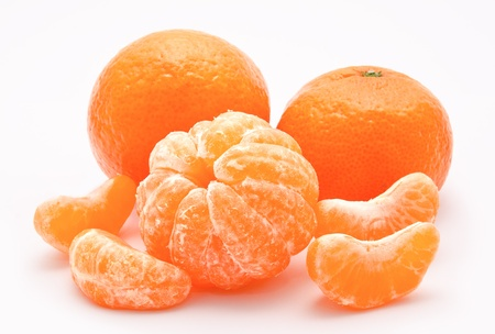 Orange tangerines isolated on a white background  photo