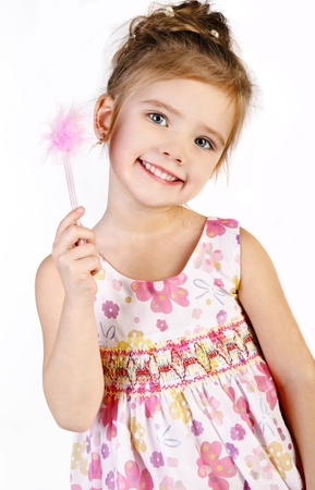 little princess: Portrait of cute smiling little girl in princess dress isolated Stock Photo