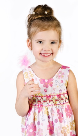 Portrait of cute smiling little girl in princess dress isolated Stock Photo