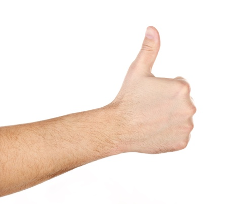 Male hand showing thumbs up sign isolated on white background  Stock Photo - 17660686