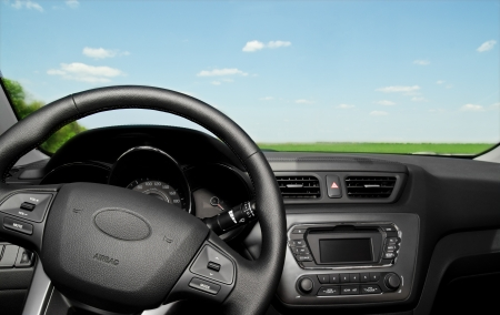 dash: Modern car interior control panel and  wheel Stock Photo