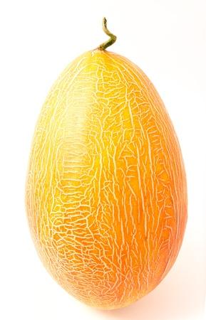 ova: Ripe whole melon isolated on a white background