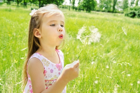 Beautiful little girl blowing dandelion on green meadow Stock Photo