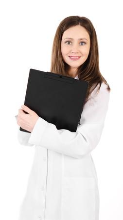 plane table: Sonriente mujer joven m?dico con estetoscopio y una mesa de avi?n aislado en blanco Foto de archivo