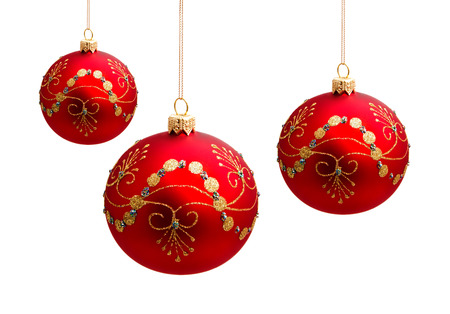 Perfect christmas balls isolated on white background photo