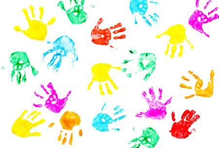Impressions de main d'enfant isolé sur un fond blanc Banque d'images - 23874473