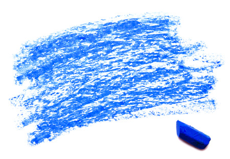 Blue wax crayon isolated on a white background  photo