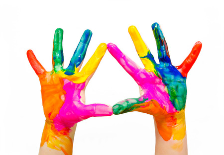 Painted child hands colorful fun isolated on white background
