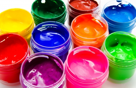 Gouache paint isolated on a white background closeup Imagens