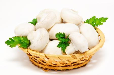 agaricus: Champignon mushroom white agaricus in the basket isolated Stock Photo