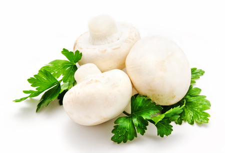 agaricus: Champignon mushroom white agaricus witn parsley isolated