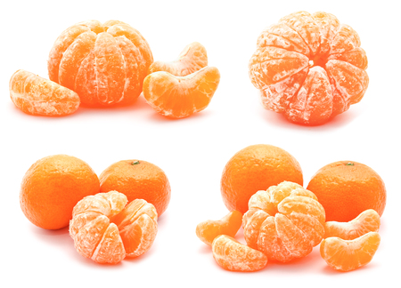 Collection of tangerines mandarines isolated on a white background  photo