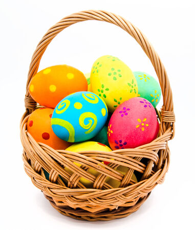 easter basket: Colorful handmade easter eggs in the basket isolated on a white background