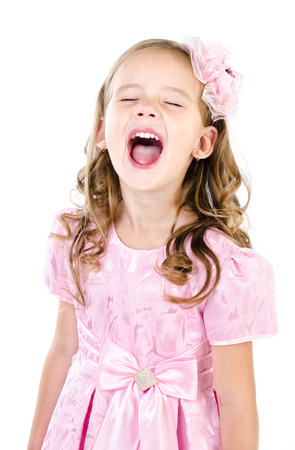 Portrait of screaming cute little girl isolated on a white