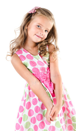 ni�o modelo: Adorable ni�a sonriente en traje de princesa aislado en blanco Foto de archivo