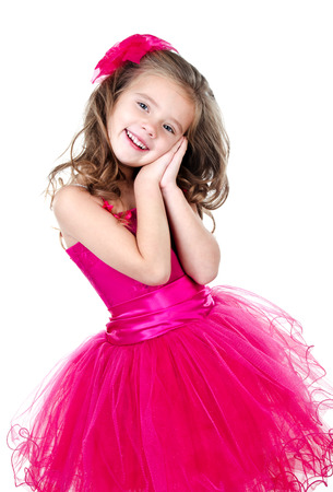 princess dress: Adorable little girl in princess dress isolated on a white background