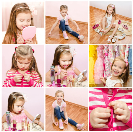buttoning: Collection of photos little girl with cosmetic and putting choes clothes
