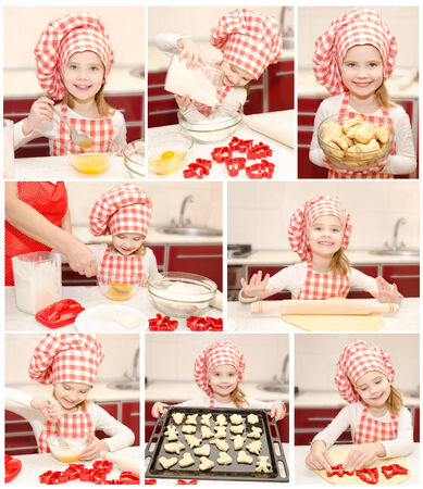 Collection of photos little girl cooking in the kitchen photo
