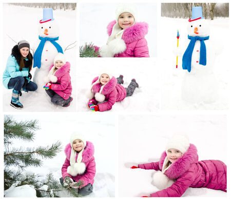 Collection of photos smiling little girl in winter day outdoor photo