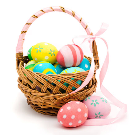 Colorful handmade easter eggs in the basket isolated on a white background photo