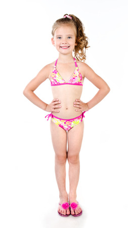 흰색에 고립 된 수영복 귀여운 웃는 소녀 스톡 콘텐츠