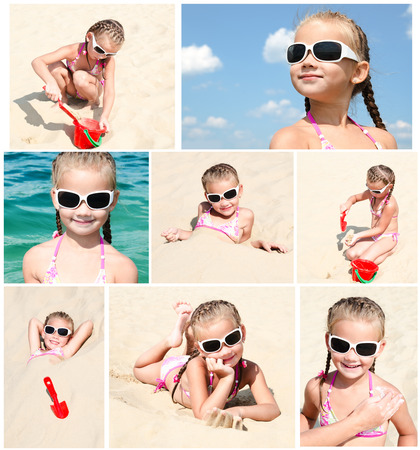 child on beach: Collection of photos smiling cute little girl on beach vacation Stock Photo
