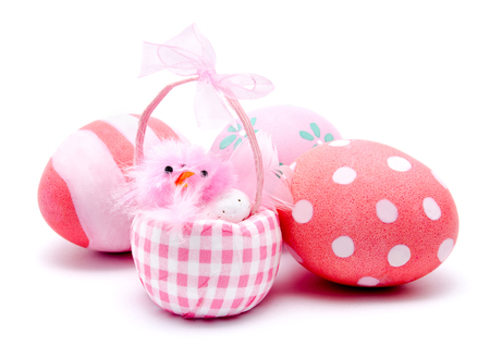 chiken: Colorful handmade easter eggs and pink chiken isolated on a white