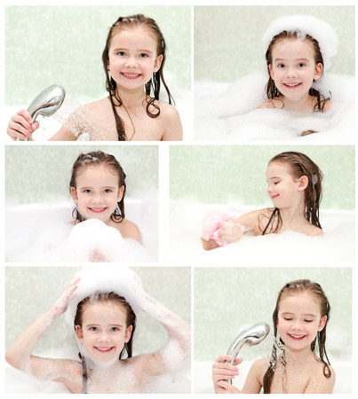 bathwater: Collection of photos cute smiling little girl washing in bath