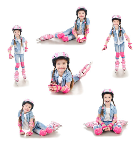 roller skates: Collection of photos cute smiling little girl in roller skates and protective gear isolated on a white