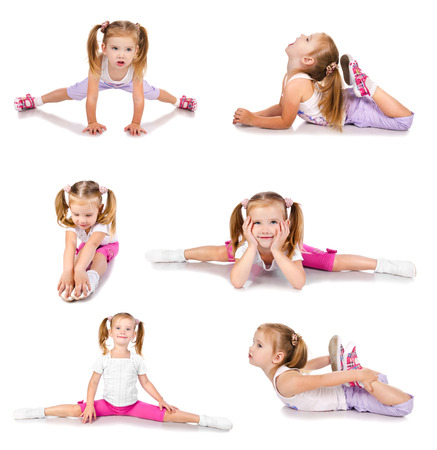 acrobat gymnast: Collection of photos gymnast cute little girl isolated on white