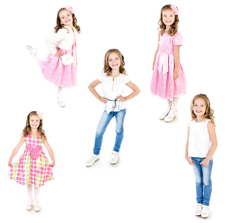 Collection of photos adorable little girl posing isolated on a white