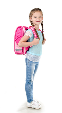 school uniform: Portrait of smiling schoolgirl with school bag isolated on a white background
