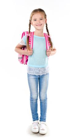schoolgirl uniform: Portrait of smiling schoolgirl with school bag isolated on a white background