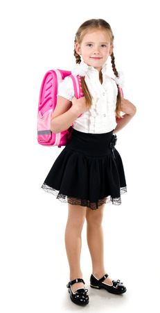 schoolgirl: Portrait of smiling schoolgirl with school bag isolated on a white background