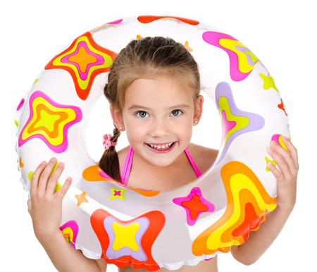 rubber: Cute smiling little girl with rubber ring isolated on a white