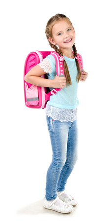 backpack: Portrait of smiling schoolgirl with backpack isolated on a white background Stock Photo