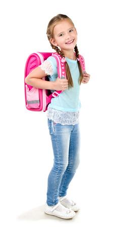 Portret van lachende schoolmeisje met rugzak die op een witte achtergrond Stockfoto