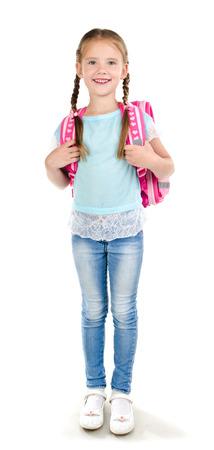 backpack: Retrato de la sonrisa de colegiala con mochila aislado en un fondo blanco