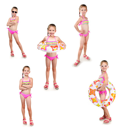 Collection of photos cute little girl with swimming ring in sunglasses isolated on a white Standard-Bild