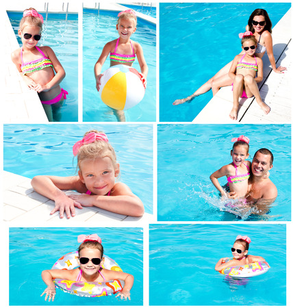 family fun: Collection of photos family having fan on summer vacation in swimming pool