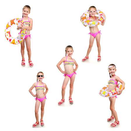 Collection of photos cute little girl with swimming ring in sunglasses isolated on a white Stock Photo