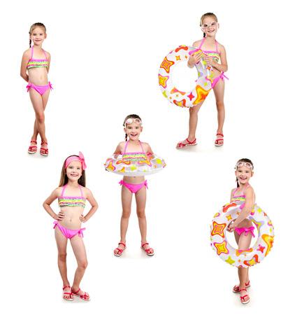 petite fille maillot de bain: Collection de photos mignonne petite fille avec bague de nager dans des lunettes de soleil isolé sur un fond blanc Banque d'images