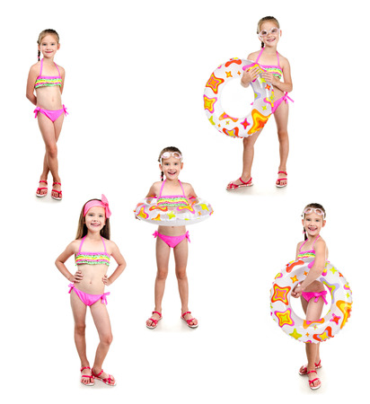 little people: Collection of photos cute little girl with swimming ring in sunglasses isolated on a white Stock Photo