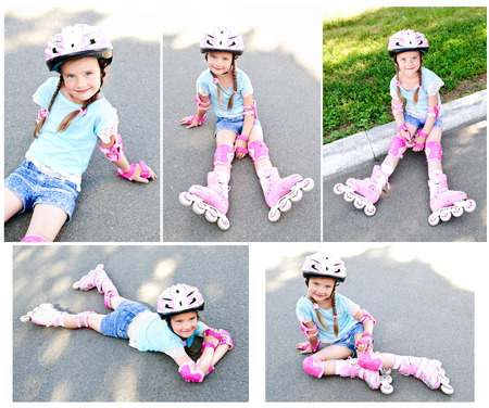 rollerskater: Collection of photos cute smiling little girl in pink roller skates and protective gear outdoor