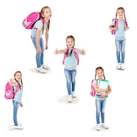 schoolgirl in uniform: Collection of photos smiling schoolgirl with backpack and books isolated on a white background