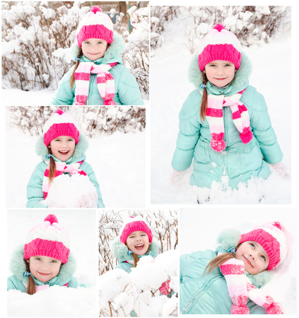 winter photos: Collection of photos smiling cute little girl in winter day outdoor